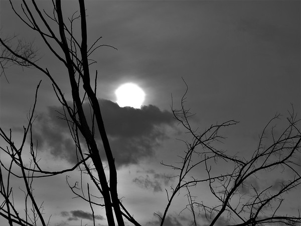 Sun, behind clouds, on a cold February day.<br /> <br /> Photographer's Name: Harry Van Noy<br /> Photographer's City and State: Lafayette Township, Ind.