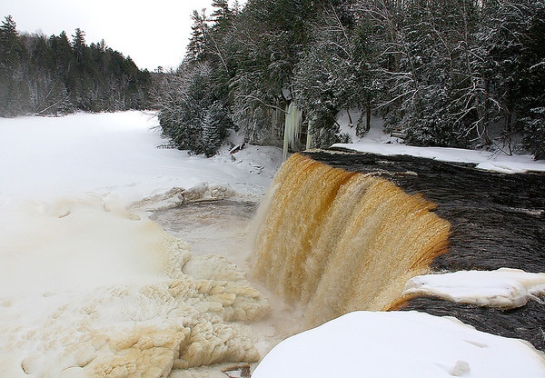 A view of Tahquamenon Falls In Upper Michigan with the icy buildup downstream.<br /> <br /> Photographer's Name: Jerry Byard<br /> Photographer's City and State: Anderson, Ind.