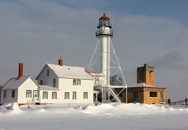 Lighthouse and buildings at Whitefish Point in Upper Michigan.<br /> <br /> Photographer's Name: Jerry Byard<br /> Photographer's City and State: Anderson, Ind.