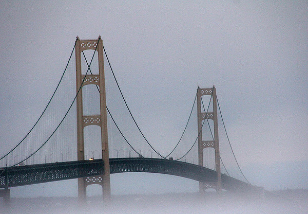 A foggy morning at Mackinac Bridge in Michigan.<br /> <br /> Photographer's Name: Jerry Byard<br /> Photographer's City and State: Anderson, Ind.