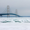 Mackinaw Bridge with ice piles in the Straits.<br /> <br /> Photographer's Name: Jerry Byard<br /> Photographer's City and State: Anderson, Ind.