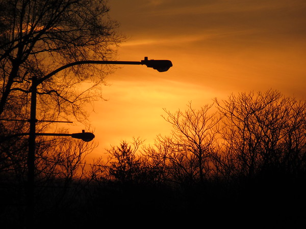 A recent red sky at twilight.<br /> <br /> Photographer's Name: Harry Van Noy<br /> Photographer's City and State: Lafayette Township, Ind.