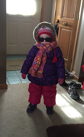 This is 3-year-old Ashton Mattingly of Alexandria heading out to play in the snow.<br /> <br /> Photographer's Name: Carrie Long<br /> Photographer's City and State: Alexandria, Ind.