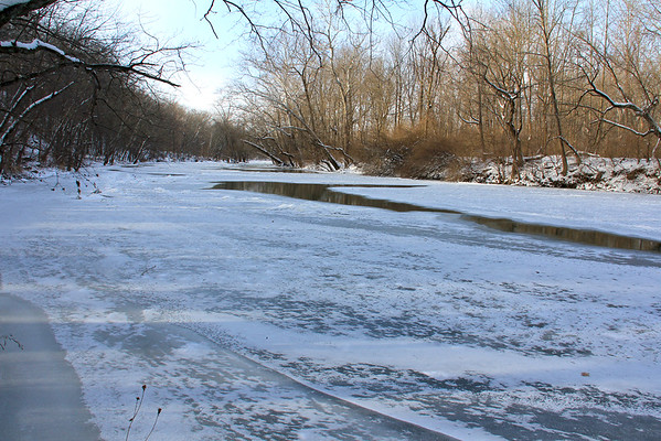 White River at Mounds Park was nearly frozen over after several days of zero-degree weather.<br /> <br /> Photographer's Name: Jerry Byard<br /> Photographer's City and State: Anderson, Ind.