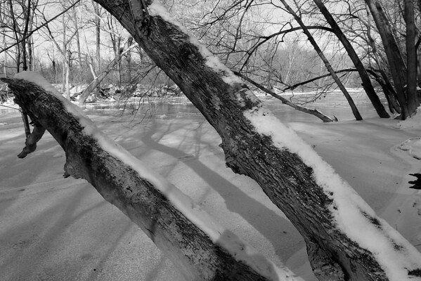 A black and white photo along Trail 5 at Mounds Sate Park shows the cold icy look of the river.<br /> <br /> Photographer's Name: Jerry Byard<br /> Photographer's City and State: Anderson, Ind.