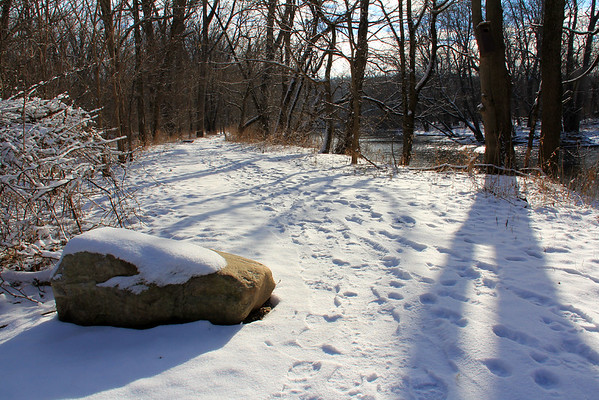 There were many footprints along the river trail at Mounds State Park on this sunny morning.<br /> <br /> Photographer's Name: Jerry Byard<br /> Photographer's City and State: Anderson, Ind.