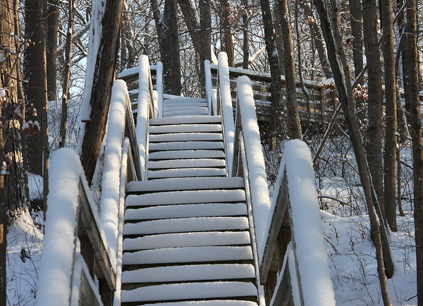 The steps up to the pavilion at Mounds State Park had no fresh footprints on them after the recent snow.<br /> <br /> Photographer's Name: Jerry Byard<br /> Photographer's City and State: Anderson, Ind.