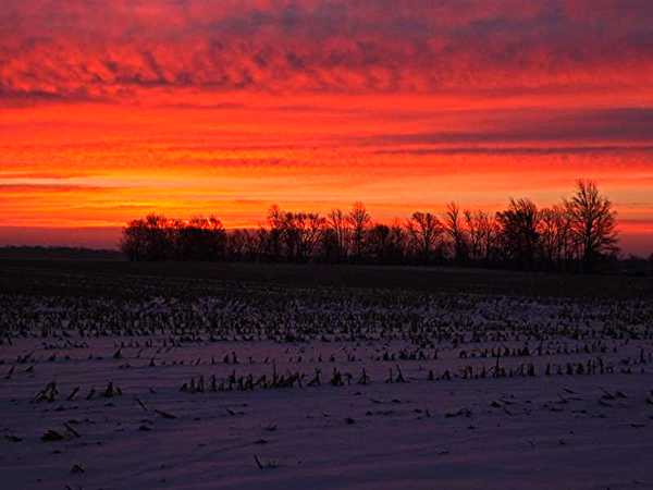 Rural sunrise in Richland Township.<br /> <br /> Photographer's Name: J.R. Rosencrans<br /> Photographer's City and State: Alexandria, Ind.