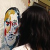 Sarah Cabello, junior, adding color to MLK's portrait. <br /> <br /> Photographer's Name: Beth Webb<br /> Photographer's City and State: Anderson, Ind.