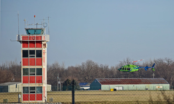 St. Vincent's helicopter landing at Anderson Municipal Airport.<br /> <br /> Photographer's Name: Pete Domery<br /> Photographer's City and State: Markleville, Ind.