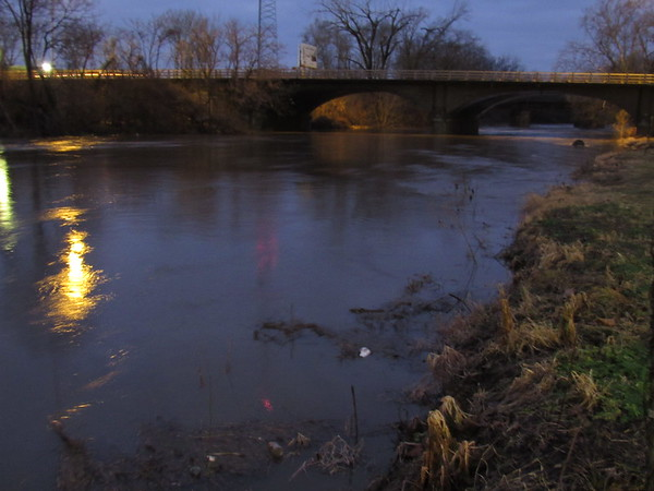 A night shot of the White River, nearing flood stage.<br /> <br /> Photographer's Name: Harry Van Noy<br /> Photographer's City and State: Lafayette Township, Ind.