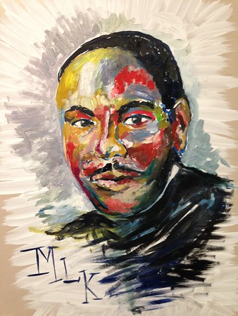 MLK, Oil on Canvas. Painted by multiple Liberty Christian Middle School and High School art students. Painting will be displayed at the Paramount on Monday for the MLK Program.<br /> <br /> Photographer's Name: Beth Webb<br /> Photographer's City and State: Anderson, Ind.