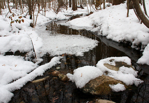 An icy and snowy stream at Mounds Park during the cold snap.<br /> <br /> Photographer's Name: Jerry Byard<br /> Photographer's City and State: Anderson, Ind.