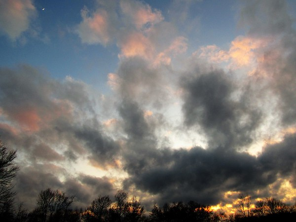 Moon, observing a recent fiery sunset, seen from Madison County.<br /> <br /> Photographer's Name: Harryv Van Noy<br /> Photographer's City and State: Lafayette Township, Ind.