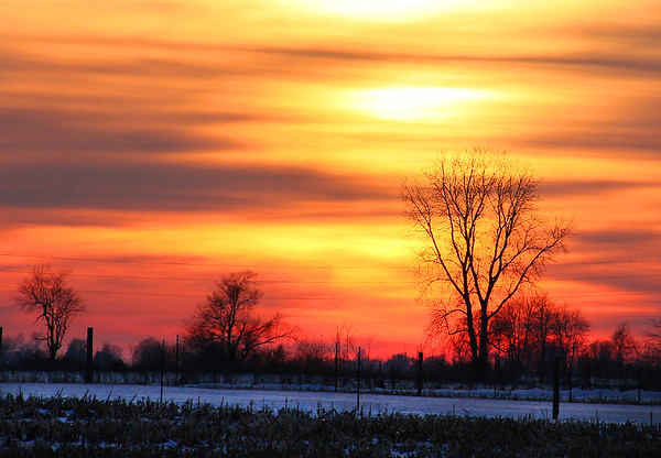 A beautiful sunset over Madison County after a warmer day than zero days.<br /> <br /> Photographer's Name: Jerry Byard<br /> Photographer's City and State: Anderson, IN