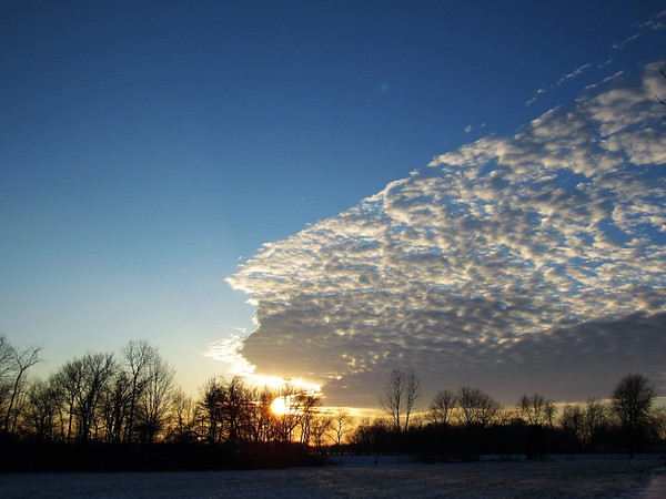 The sky over Madison County at sunset on a cold January day. <br /> <br /> Photographer's Name: Harry Van Noy<br /> Photographer's City and State: Lafayette Township, Ind.