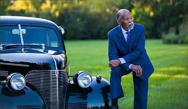 Ray Grimball with a classic car taken by Barbara Spicer Grimball last October 2017.<br /> <br /> Photographer's Name: Barbara Grimball<br /> Photographer's City and State: Anderson, Ind.