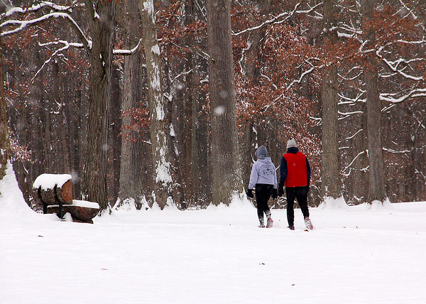 Hikers enjoying a walk at Mounds Park after our large snowstorm.<br /> <br /> Photographer's Name: Jerry Byard<br /> Photographer's City and State: Anderson, Ind.