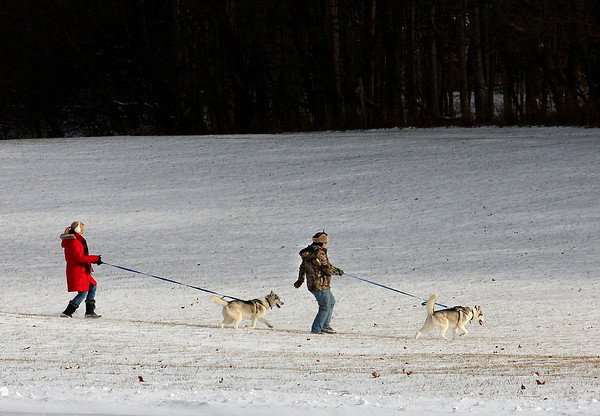 After the ice and snow it was a good time to take the huskies for a walk at Mounds Park.<br /> <br /> Photographer's Name: Jerry Byard<br /> Photographer's City and State: Anderson, Ind.