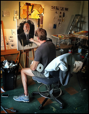Local Artist David Slonim working on a portrait of subject Ray Grimball in his Anderson studio.<br /> <br /> Photographer's Name: Ray Grimball<br /> Photographer's City and State: Anderson, Ind.