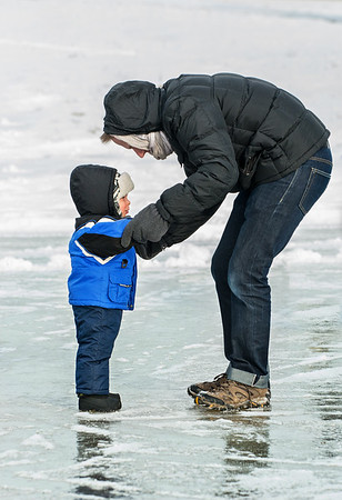 Son-in-law Will Doublestein with his son Ryder on the ice.<br /> <br /> Photographer's Name: Terry Lynn Ayers<br /> Photographer's City and State: Anderson, Ind.