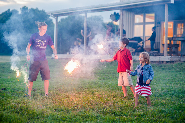 Dawson Ayers, Tristan Fox, and Evie Fox with sparklers.<br /> <br /> Photographer's Name: Terry Lynn Ayers<br /> Photographer's City and State: Anderson, Ind.