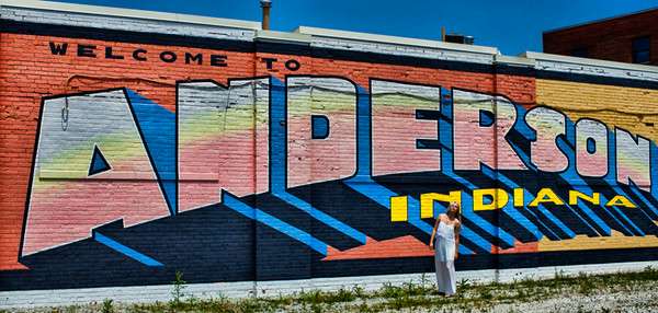 A photo taken by Barbara Grimball of model Alexa Munger from Alexandria, IN posing in front of this sign in downtown Anderson.<br /> <br /> Photographer's Name: Barbara Grimball<br /> Photographer's City and State: Anderson, Ind.