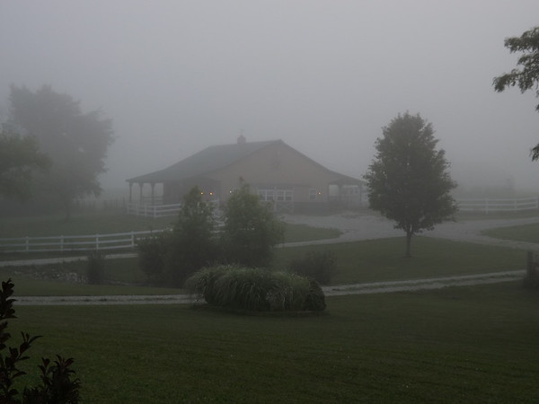 """Farm Fog:"" My horse barn in the morning in Richland Township.<br /> <br /> Photographer's Name: J.R. Rosencrans<br /> Photographer's City and State: Alexandria, Ind."