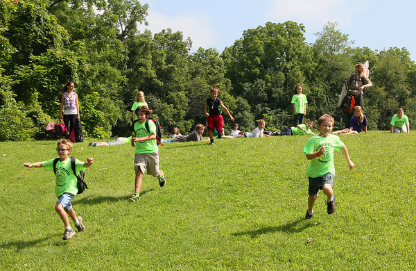 After a recent day camp activity at Mounds Park the kids wanted to race downhill.<br /> <br /> Photographer's Name: Jerry Byard<br /> Photographer's City and State: Anderson, Ind.