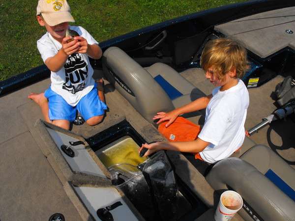 Lucas and Nicholas Coxe counting their catch at Shadyside Lake.<br /> <br /> Photographer's Name: J.R. Rosencrans<br /> Photographer's City and State: Alexandria, Ind.