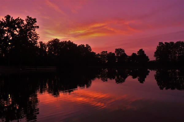 Sunrise on the water at Shadyside Lake.<br /> <br /> Photographer's Name: J.R. Rosencrans<br /> Photographer's City and State: Alexandria, Ind.