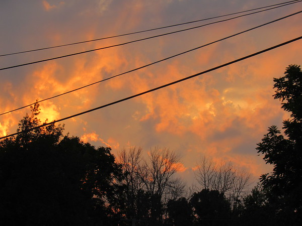 A Thursday night fiery sunset.<br /> <br /> Photographer's Name: Harry Van Noy<br /> Photographer's City and State: Lafayette Township, Ind.