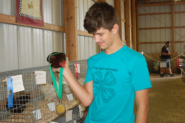 Jonathan with his Reserve Champion SCCL Rhode Island Red Bantam at the Madison Co. 4-H Fair.<br /> <br /> Photographer's Name: Kendra Schlabach<br /> Photographer's City and State: Anderson, Ind.