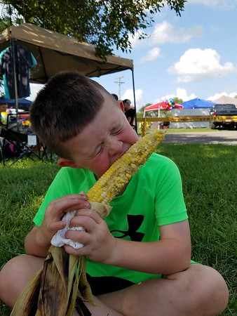 Easton Key eating Ousley's corn on the cob at the Madison County Fair<br /> <br /> Photographer's Name: Alyssa Key<br /> Photographer's City and State: Anderson, Ind.