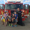 This is Natalie, Ryan, and Kendall Long and Carter, Bennett, and Aubrey Sovern with firefighter Jordan Allen at the annual Back to School Bash at the Baptist Church in Alexandria.<br /> <br /> Photographer's Name: Carrie Long<br /> Photographer's City and State: Alexandria, Ind.