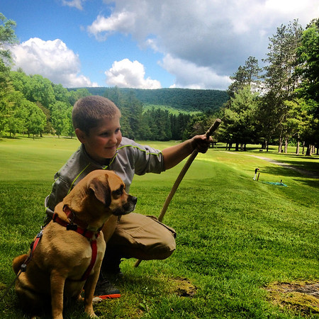 Yogi and his cousin enjoying a beautiful day in the mountains of Pennsylvania. <br /> <br /> Photographer's Name: Debbie Woschitz<br /> Photographer's City and State: Anderson, Ind.