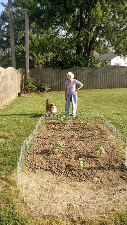 90-year-old Alma York  and her dog Buddy, looking at the garden she put in with only a garden hoe. Photo taken in Anderson<br /> <br /> Photographer's Name: J.R. Rosencrans<br /> Photographer's City and State: Alexandria, Ind.