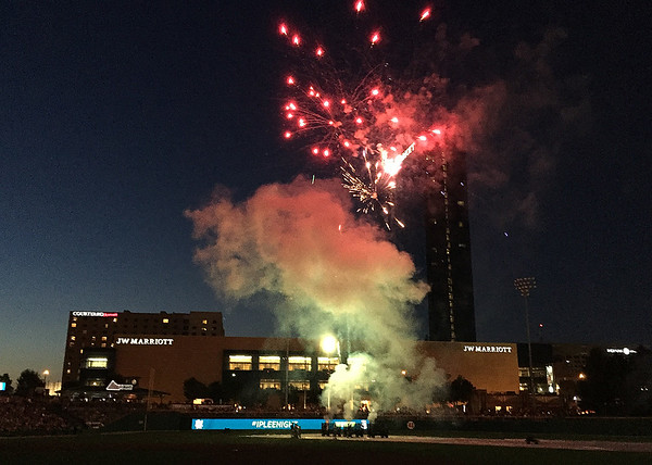 Fireworks at Victory Field in Indy after a recent game.<br /> <br /> Photographer's Name: Jerry Byard<br /> Photographer's City and State: Anderson, Ind.