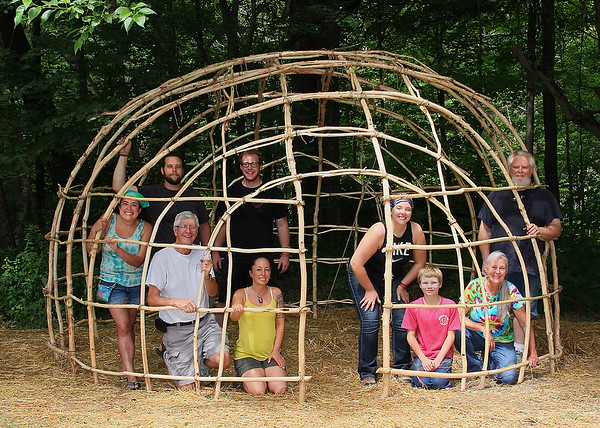 This is the finished Wigwam at Mounds Park with most of the crew pictured.<br /> <br /> Photographer's Name: Jerry Byard<br /> Photographer's City and State: Anderson, Ind.