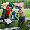 Scott and Brent working with a Google Trekker at Mounds State Park on some trails at the park.<br /> <br /> Photographer's Name: Jerry Byard<br /> Photographer's City and State: Anderson, Ind.