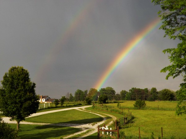 Double rainbow in Richland Township.<br /> <br /> Photographer's Name: J.R. Rosencrans<br /> Photographer's City and State: Alexandria, Ind.