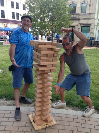 Adult Jenga at Anderson Brewfest <br /> <br /> Photographer's Name: Bruce Roberts<br /> Photographer's City and State: Anderson, Ind.