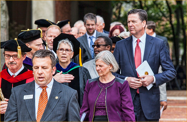 Barbara Grimball's photo of the installation of Anderson University President John Pistole with then-FBI Director James Comey on the right side of image. <br /> <br /> Photographer's Name: Barbara Grimball<br /> Photographer's City and State: Anderson, Ind.