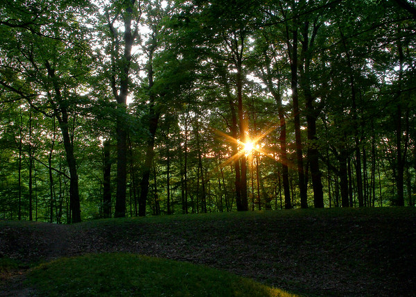 Sunset over Circle Mound on Summer Solstice day.<br /> <br /> Photographer's Name: Jerry Byard<br /> Photographer's City and State: Anderson, Ind.