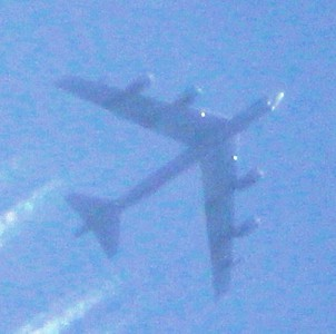 One of two Air Force B-52s that flew over Anderson on March 12.<br /> <br /> Photographer's Name: Brian  Fox<br /> Photographer's City and State: Anderson, Ind.