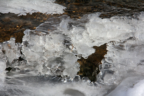 Icy blobs in a stream at Mounds Park will soon just be a memory.<br /> <br /> Photographer's Name: Jerry Byard<br /> Photographer's City and State: Anderson, Ind.
