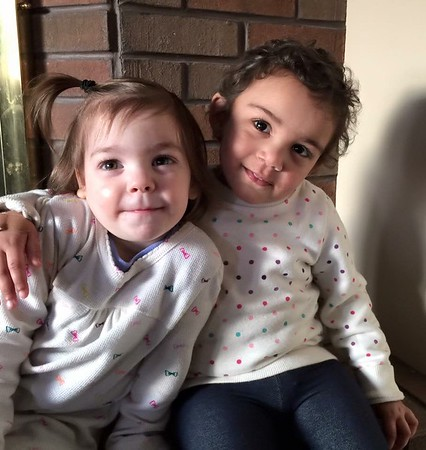 This is two-year-old Aubrey Sovern with her friend, two-year-old Charlotte Cambridge.<br /> <br /> Photographer's Name: Carrie Long<br /> Photographer's City and State: Alexandria, Ind.