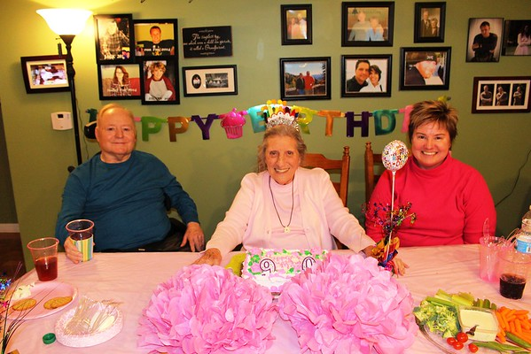 My grandmother Louise Fox celebrates her 90th birthday with her son Mike Fox and granddaughter Lori McPheeters.<br /> <br /> Photographer's Name: Brian Fox<br /> Photographer's City and State: Anderson, Ind.