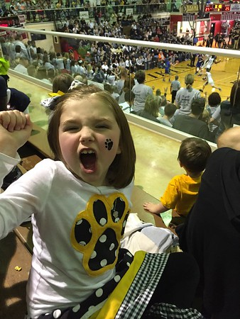 Gwenevere Simpson, a first grade student at Lapel Elementary, is rooting on her Bulldogs to a semistate victory!<br /> <br /> Photographer's Name: Kitty Simpson<br /> Photographer's City and State: Shirley, Ind.