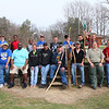 A group of scouts, parents and helpers pose with their new walking sticks at Mounds Park after the workshop.<br /> <br /> Photographer's Name: Jerry  Byard<br /> Photographer's City and State: Anderson, Ind.